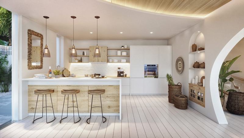 Không gian nấu nướng ấm cúng và gọn gàng