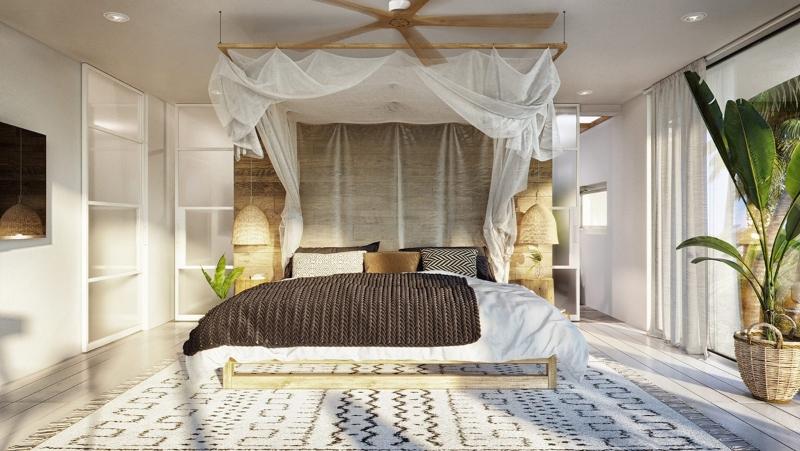 Phòng ngủ chính được thiết kế nhẹ nhàng, tinh tế
