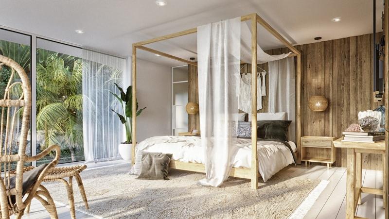 Phòng ngủ phụ được bố trí cây xanh đậm chất Tropical