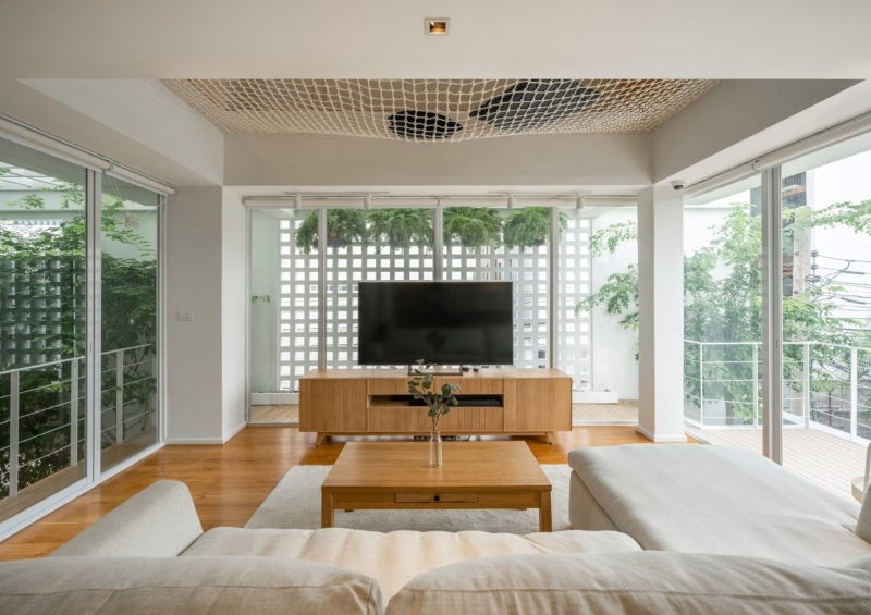 Thiết kế nội thất phòng khách tối giản và công năng