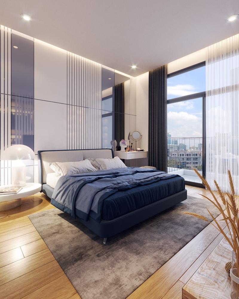 Phòng ngủ phụ với tông màu xanh tươi mát
