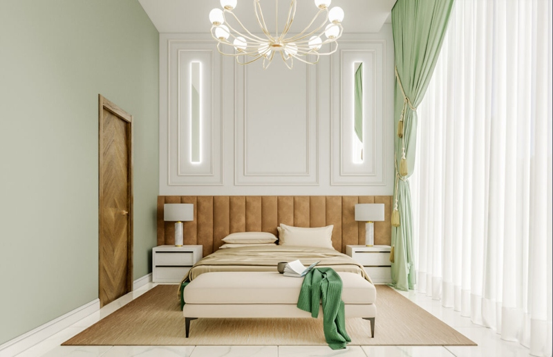 Phòng ngủ phụ màu xanh lá