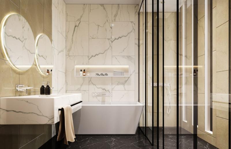 Phòng tắm làm bằng vật liệu đá và kính cường lực