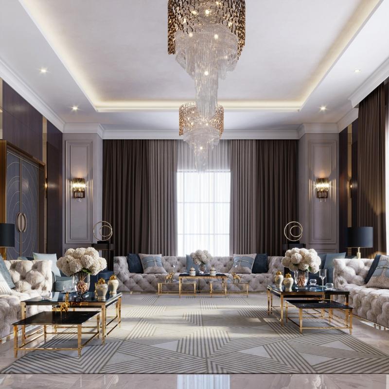 Bố trí nội thất phòng khách theo nguyên tắc đối xứng