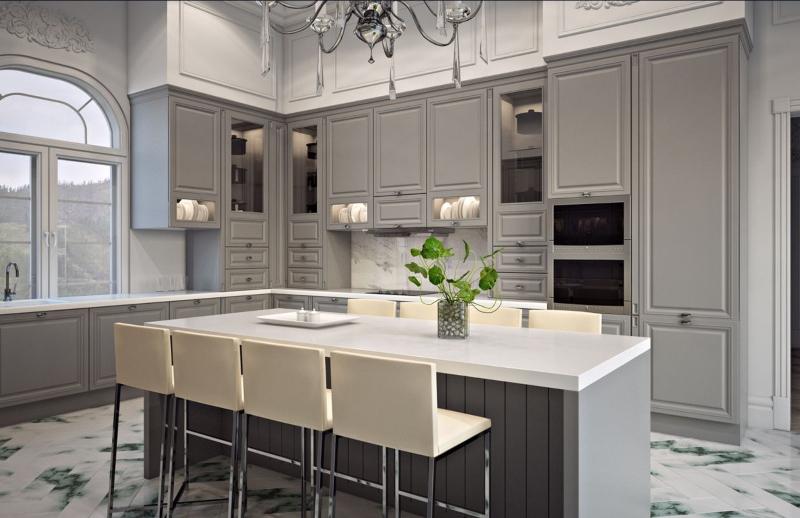Thiết kế tủ bếp kết hợp bàn đảo