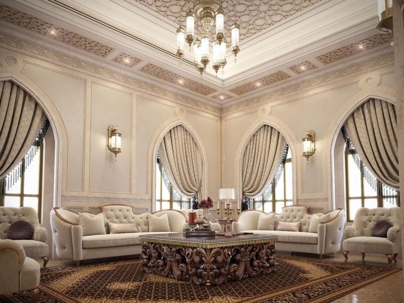Bố trí rèm cửa đối xứng tạo điểm nhấn cho phòng khách