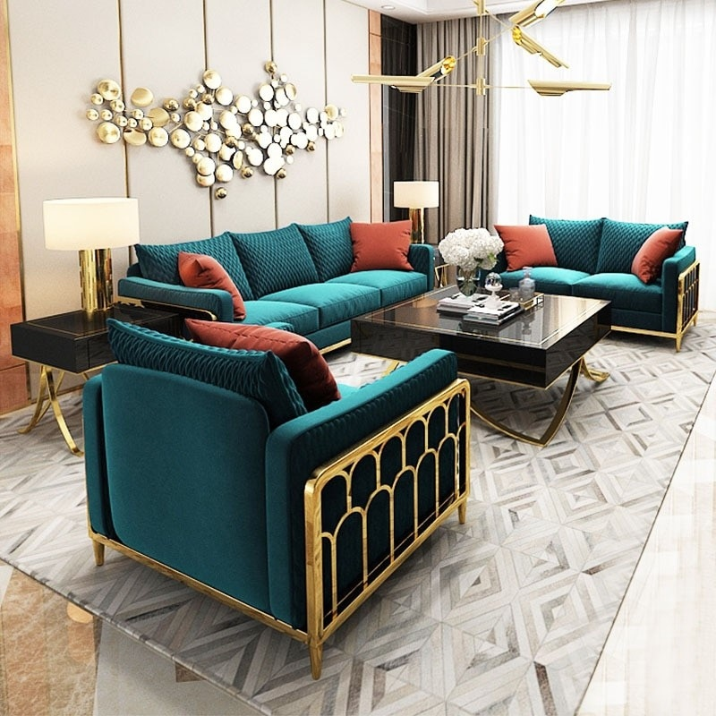 sử dụng nội thất chi tiết kim loại sáng để trang trí phòng khách