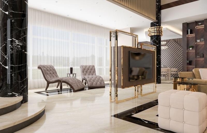 Chi tiết kim loại sáng tạo điểm nhấn cho phòng khách