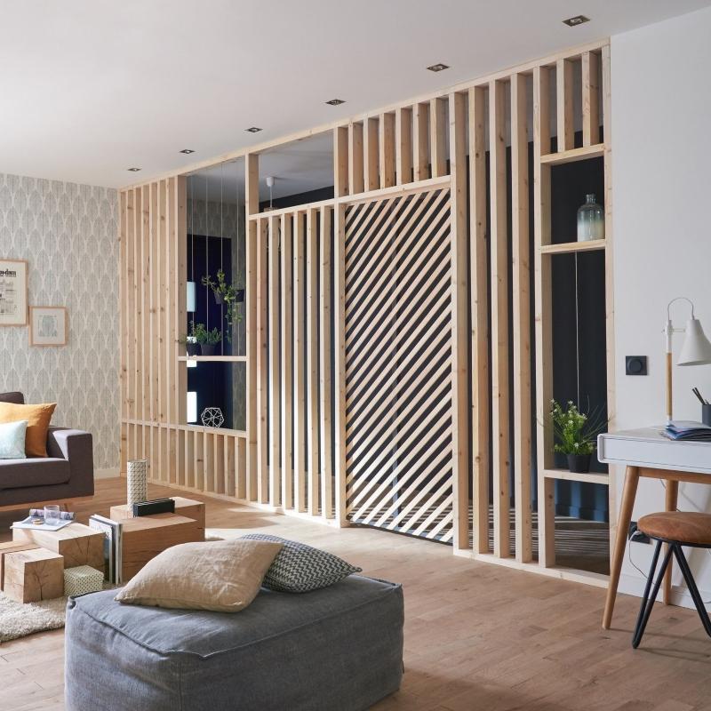 Bố trí lam gỗ trong phòng khách