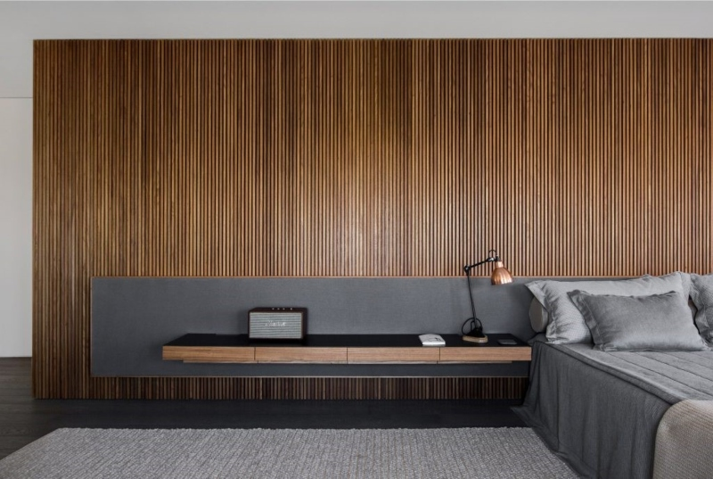Lam gỗ ốp đầu giường phòng ngủ