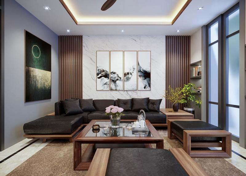 Phòng khách của nhà phố 30m