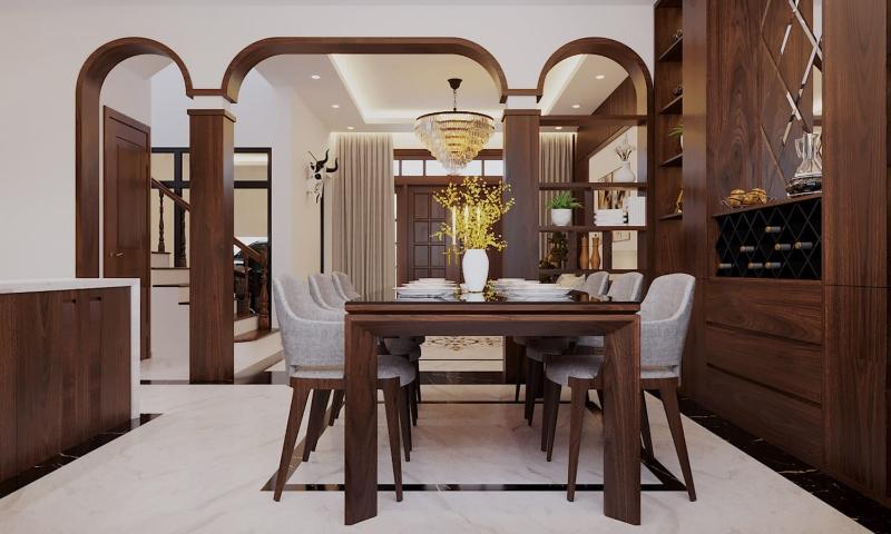 Thiết kế bàn ăn hình chữ nhật cho nhà phố đẹp