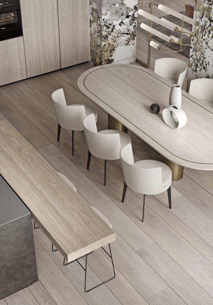 Thiết kế bàn ăn hình oval