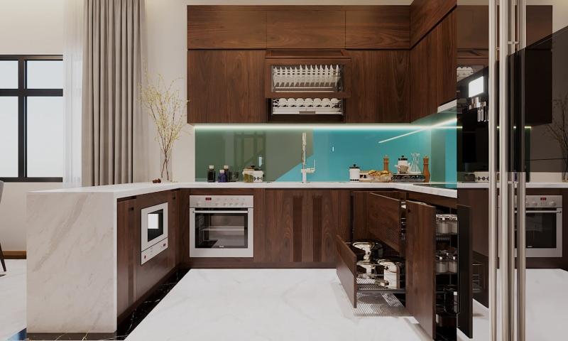 Tủ bếp hình chữ U giúp lưu trữ đồ dùng bếp