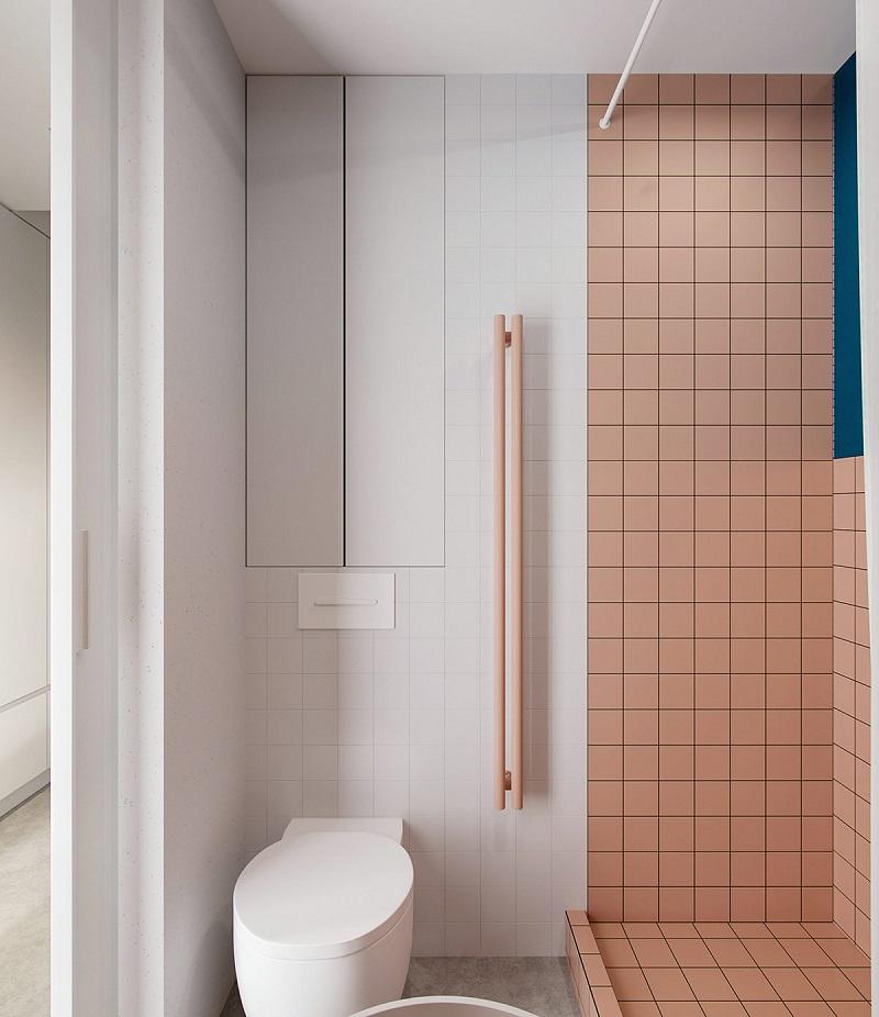 Phòng tắm màu pastel trong thiết kế nội thất giá rẻ