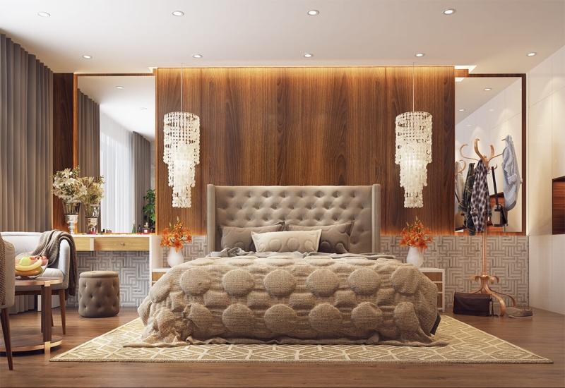 Phòng ngủ ấm cúng với tông nâu vàng
