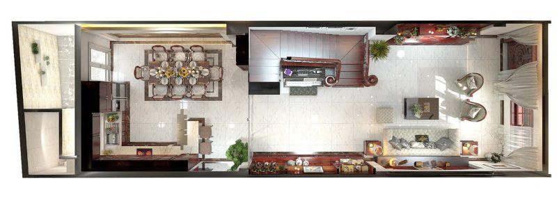 Mặt bằng bố trí nội thất tầng trệt của ngôi nhà