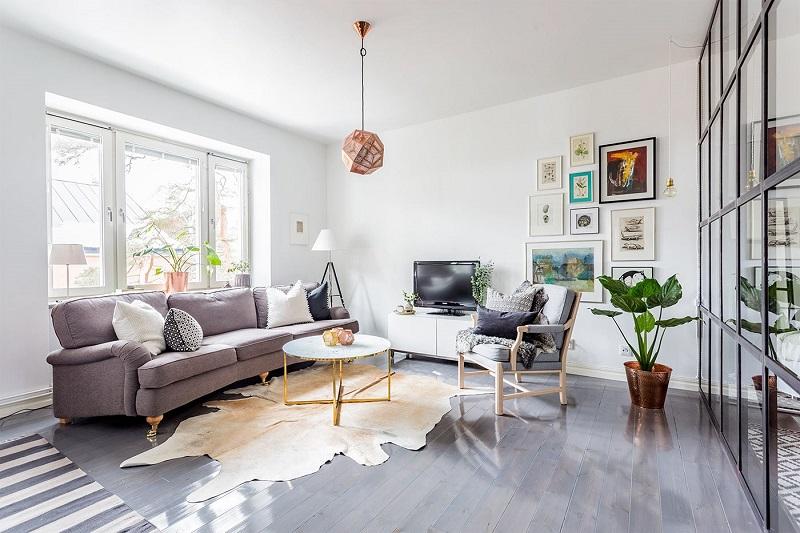 Thiết kế nội thất giá rẻ phòng khách Bắc Âu