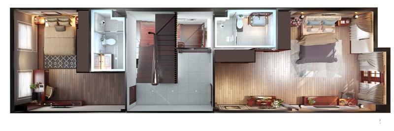 Mặt bằng bố trí nội thất tầng 1 của ngôi nhà
