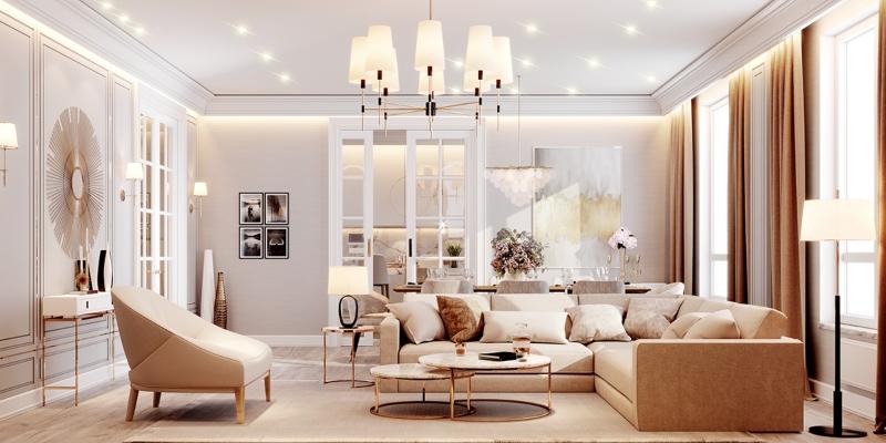 Thiết kế nội thất phòng khách với tông màu trầm ấm