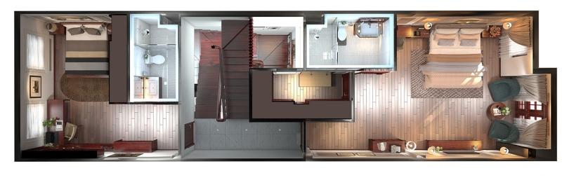 Mặt bằng bố trí nội thất tầng 2 của ngôi nhà