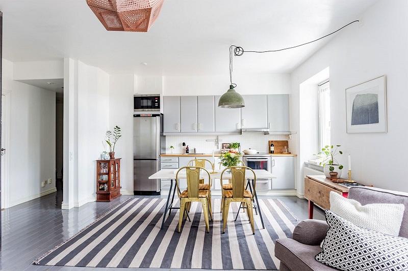 Thiết kế nội thất giá rẻ phòng ăn và bếp kiểu Bắc Âu