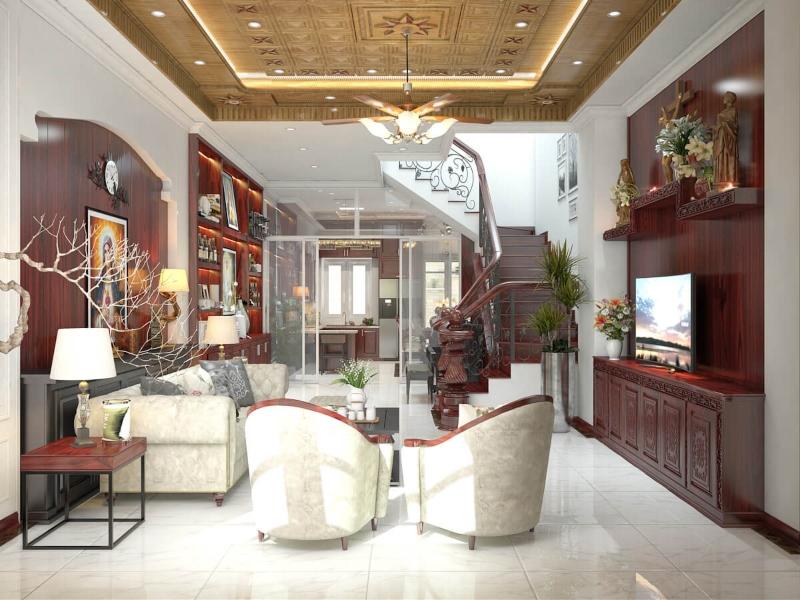 Phòng khách của nhà phố 3 tầng