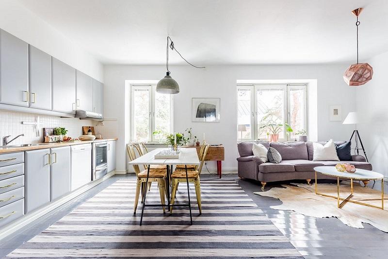 Thiết kế nội thất giá rẻ phòng khách bếp Bắc Âu