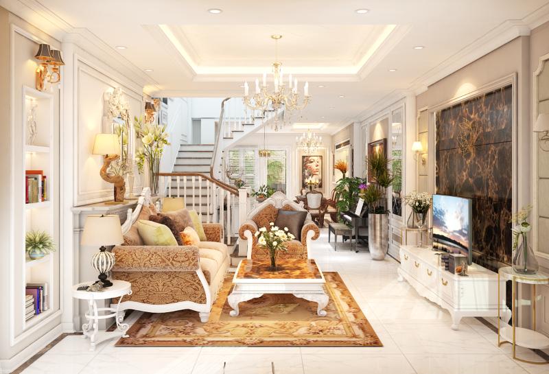 Phòng khách nhà phố được trang trí sang trọng và lộng lẫy