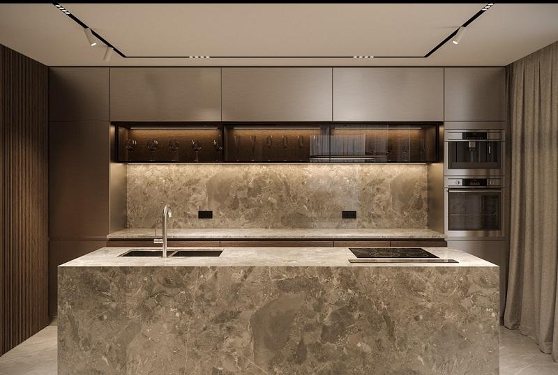 Thiết kế nội thất giá rẻ tủ bếp giả đá