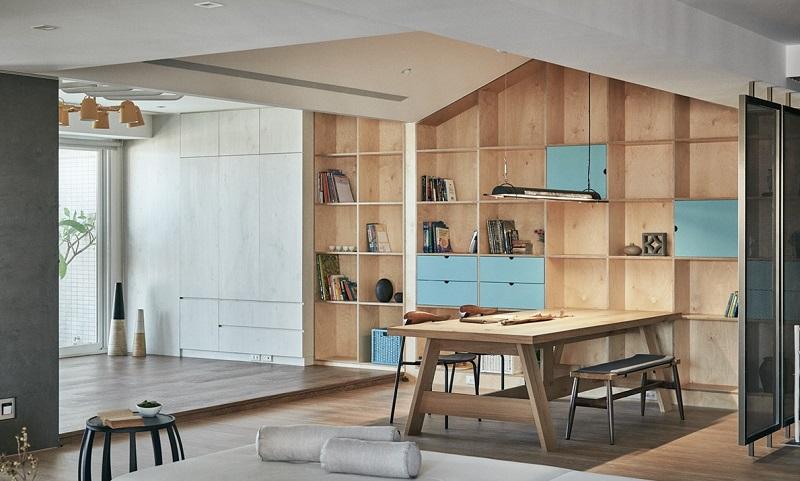 Thiết kế nội thất gỗ tủ cao kịch trần