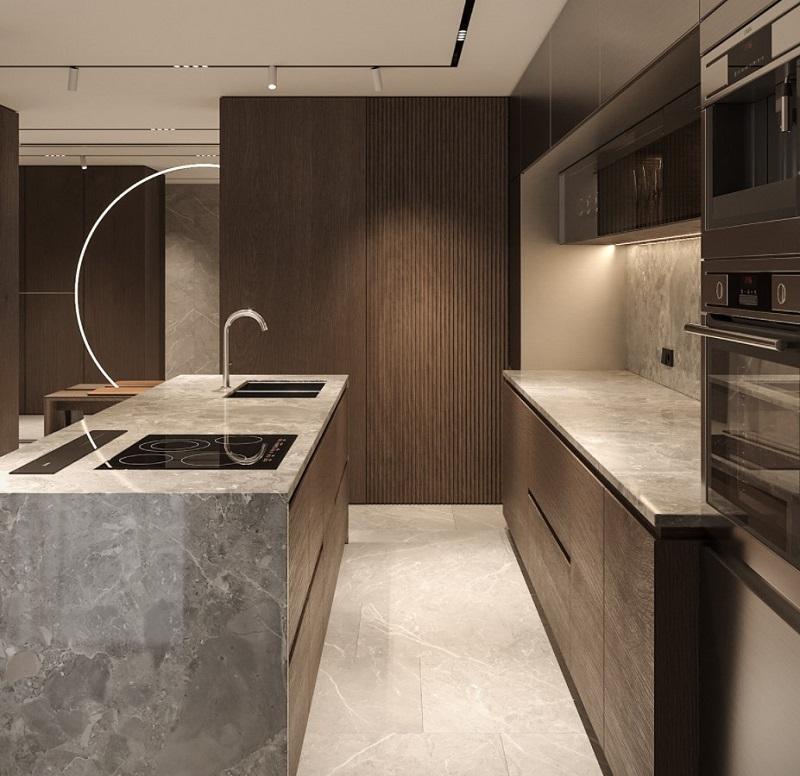Thiết kế nội thất giá rẻ tủ và đảo bếp