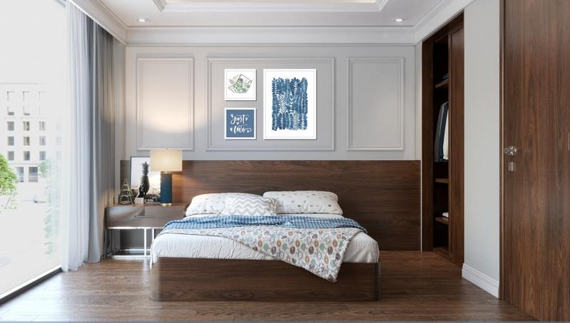 Phòng ngủ phụ được bố trí tối giản nhưng vô cùng tinh tế