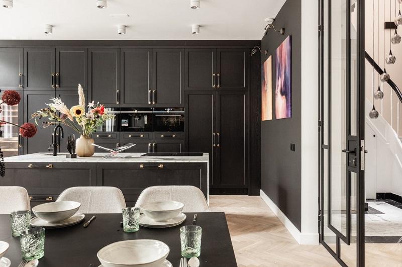Thiết kế nội thất giá rẻ tủ bếp tân cổ điển