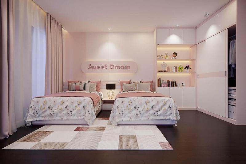 Thiết kế phòng ngủ màu hồng cho bé