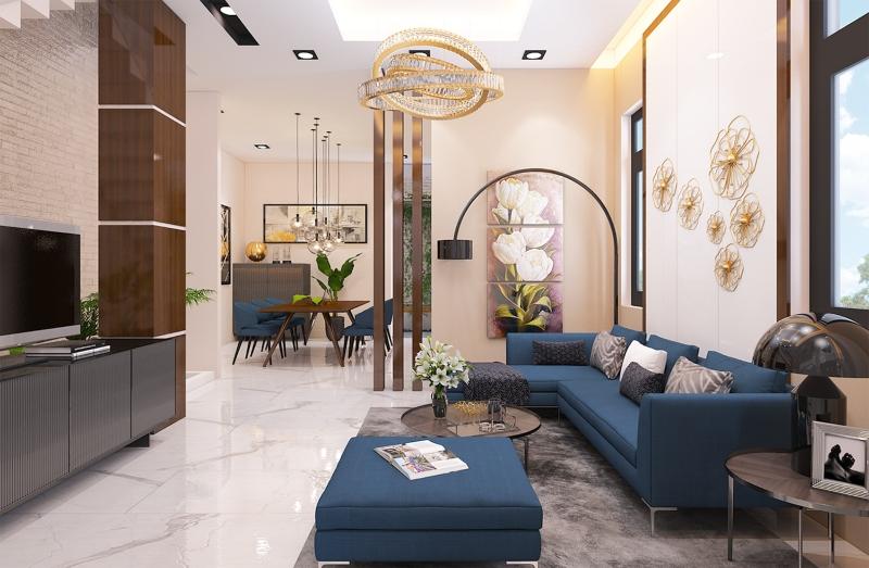 Phòng khách nhà phố Tân cổ điển