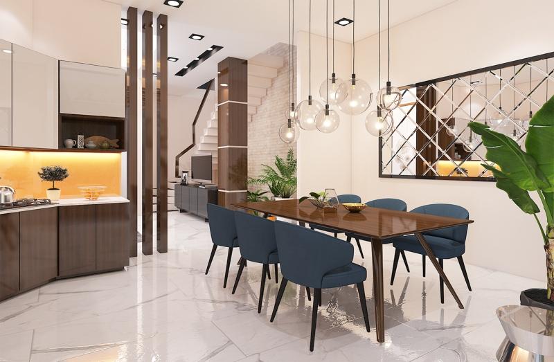 Bếp nấu và bàn ăn được bố trí cùng một không gian