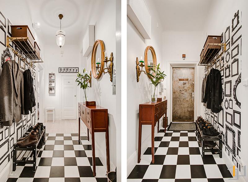 9-Black-white-hallway