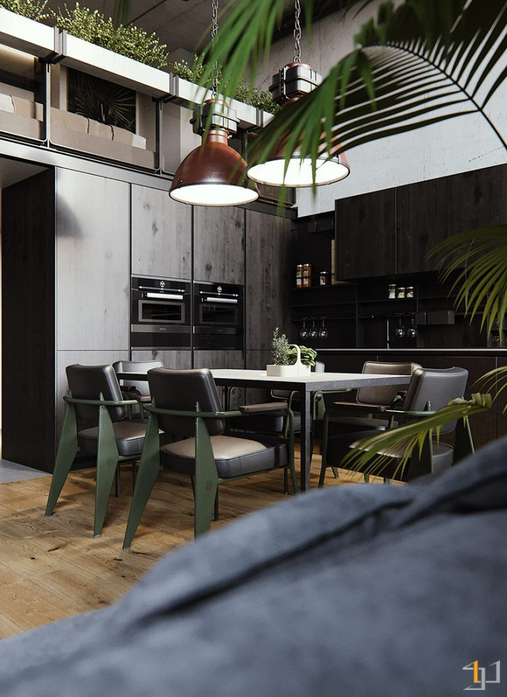 Black-kitchen-diner