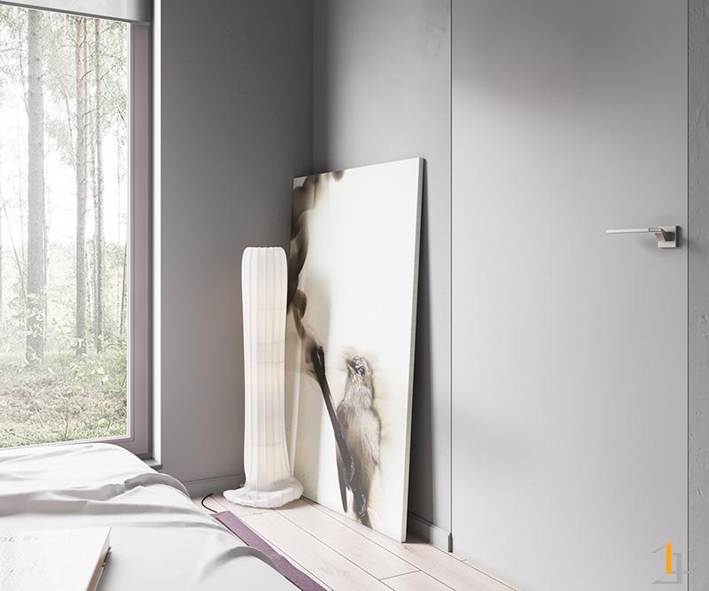 acrylic-ornament-leaning-canvas-minimalist-bedroom