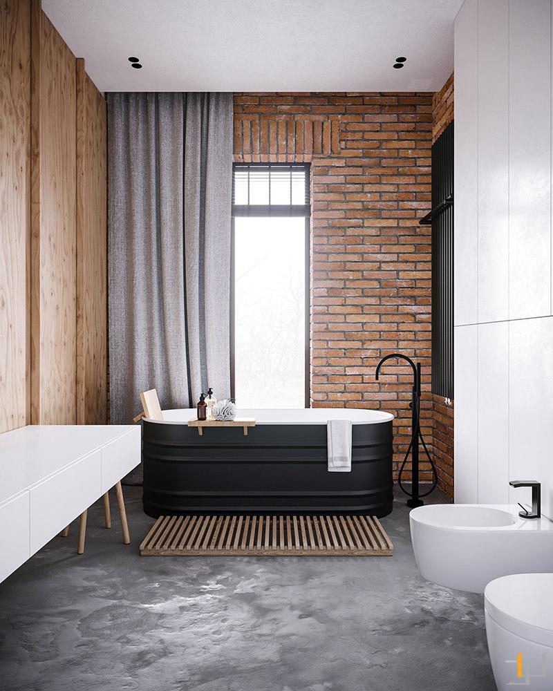 exposed-brick-bathroom-feature-wall