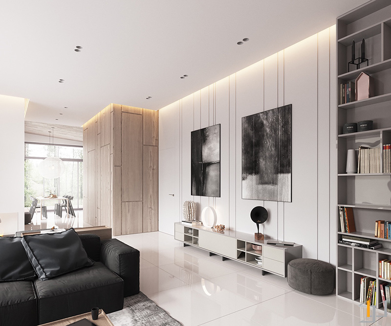 monochrome-abstract-canvases-minimalist-living-room