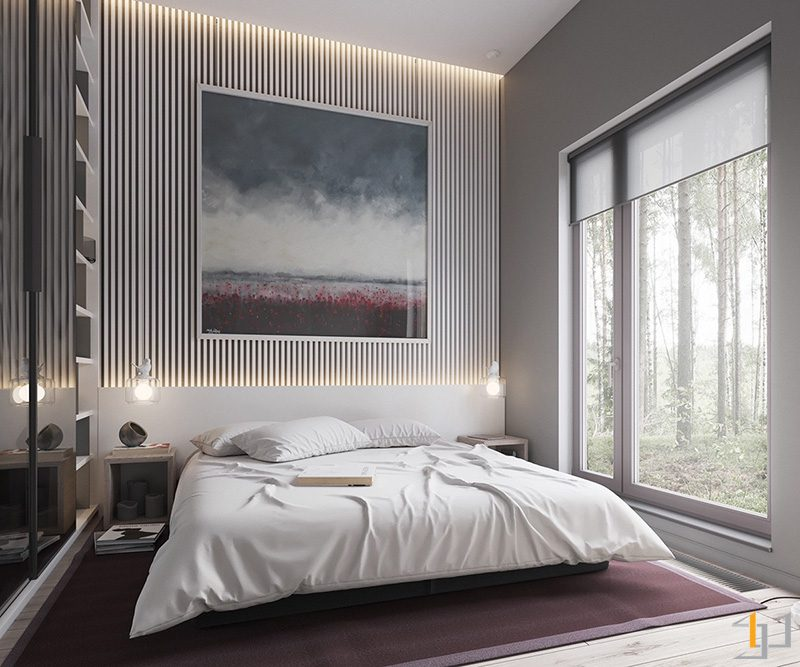 purple-rug-matching-abstract-artwork-muted-bedroom