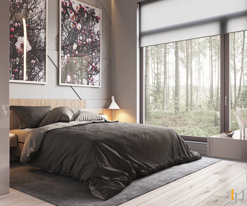 two-abstract-art-prints-low-lying-bed-charcoal-bedroom