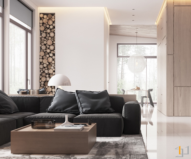 wood-stack-column-leather-couches-bachelor-living-room