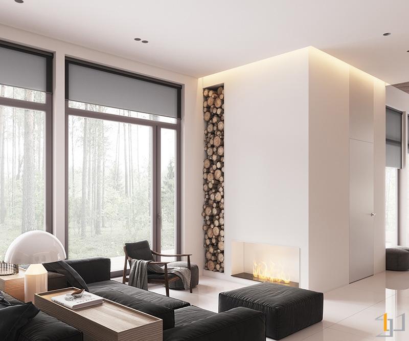 wood-stack-column-minimalist-living-space
