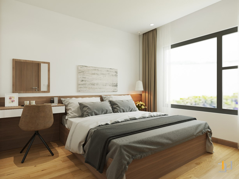 Cửa sổ lớn bên trong không gian nội thất phòng ngủ