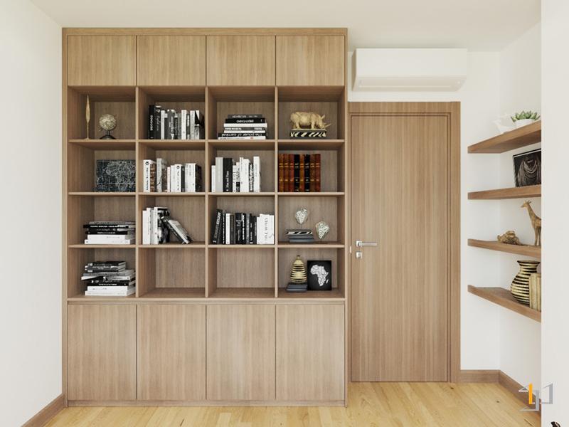 Thiết kế tủ kệ sách cao kịch trần