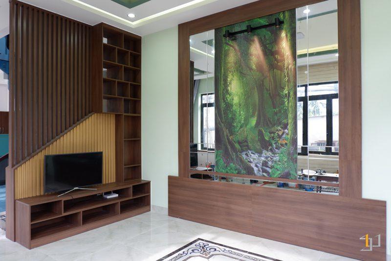 thi công nội thất phòng khách 20m2 đẹp cho nhà phố