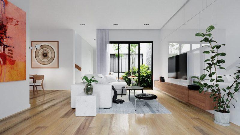 Thiết kế nội thất phòng khách từ các vật liệu tự nhiên
